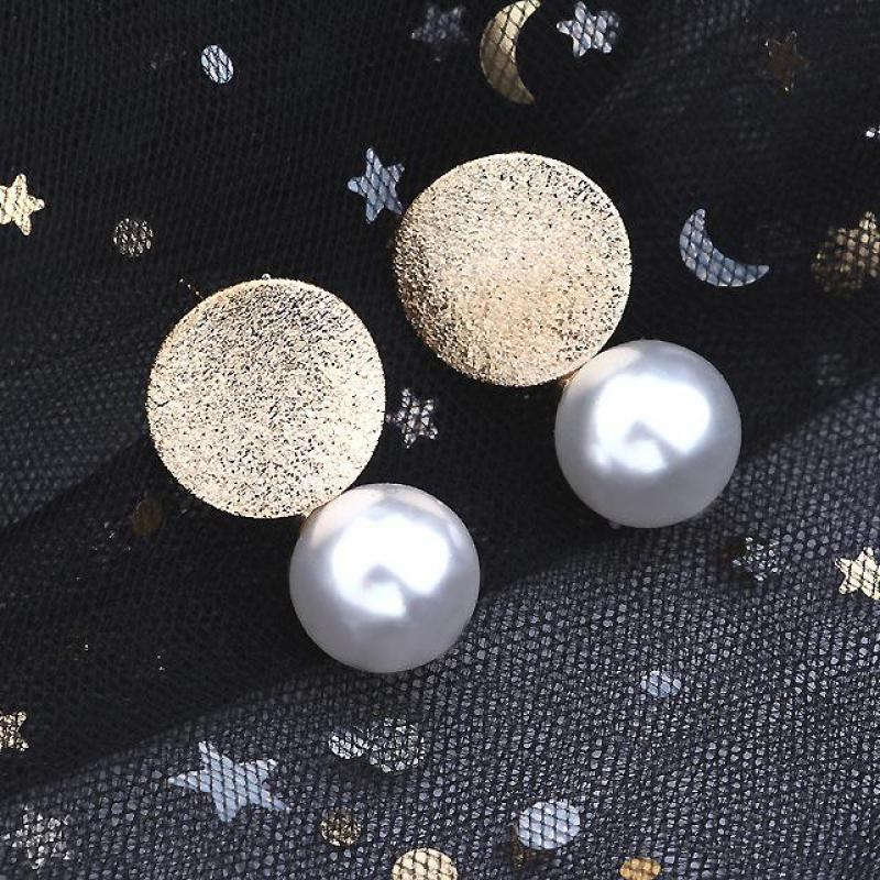 New Jewelry Creative Fashion Round Pearl Earrings Women's Birthday Gift Earrings Jewelry Wholesale Big Earings Women 2019