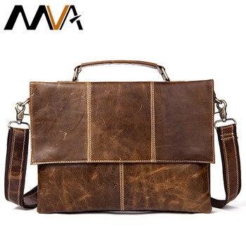 MVA Messenger Bag Mannen Lederen lederen Schoudertassen mannelijke tas man mannen 12 Laptop Crossbody Tassen voor Mannen schooltas 7909