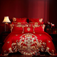 Luxury Gold Royal Embroidery Red European Wedding Bedding Set 60S Egyptian Cotton Duvet Cover Bed sheet Bedspread Pillowcases