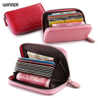 Genuine Leather Zipper Wallets Women Fashion Cartera Portefeuille Femme Ladies Red Wallet Small Billeteras Mujer