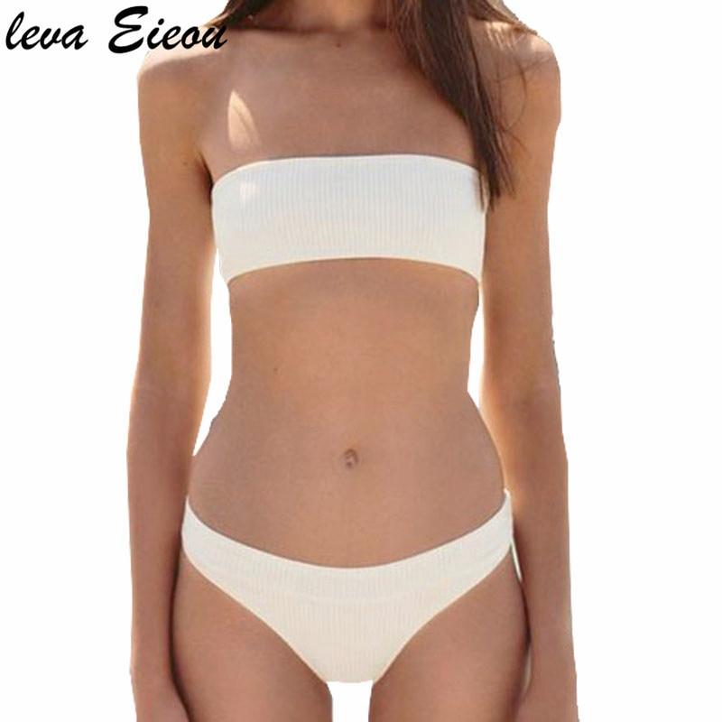 4 Colors Solid Two Piece Bikinis Set Women Swimsuit 2018 Summer Beach Swim Wear Off Shoulder Padded Low Waist Bikiny Badpak Suit