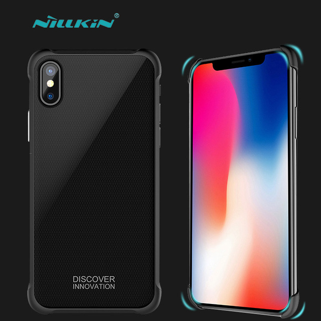 Nillkin for iPhone X Phone Case 2.5D Tempered Glass Panel Back Cover Fit Car Magnetic for Apple iPhone X Anti-Knock Armor Case