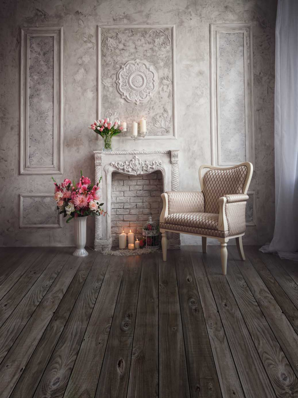 studio background backdrop fireplace custom chair wall candles pot flowers vinyl foto props 240cm 360cm interior zoom days candle