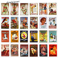 DL-Full Service Hot Rod Route 66 Metal Sign pin up girls with smile vintage Garage wall art poster