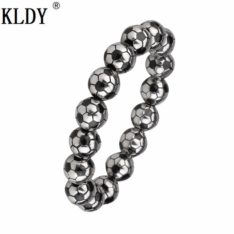 KLDY Football Sport Bracelet male Highest quality Stainless Steel High Quality Men beads Bracelets Punk Trendy Jewelry for lover все цены