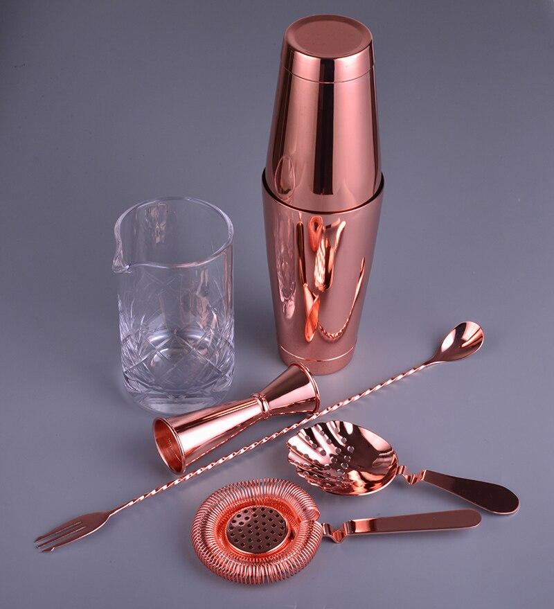 Copper Version 6 Piece Bar Set Boston Cocktail Shaker Bartending Set Including Mixing Glass