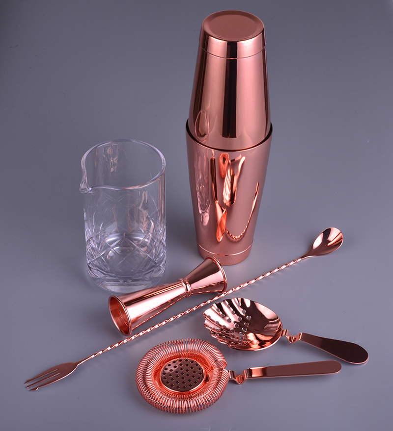 Copper Version 6 Piece Bar Set Boston Cocktail Shaker Bartending Set Including Mixing Glass-in Bar Sets from Home & Garden    1