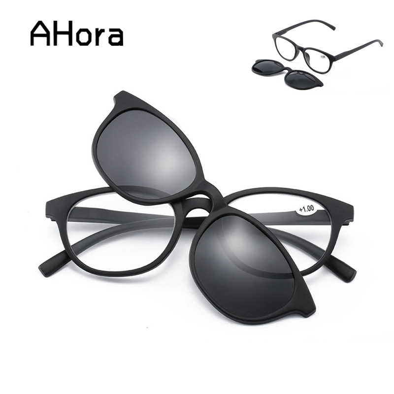 Ahora Unisex Reading Presbyopia <font><b>Glasses</b></font> With Magnetic Clip on Sunglasses Men Women Polarized Sun <font><b>Glasses</b></font> With Diopter +<font><b>1.0</b></font>~+3.5 image