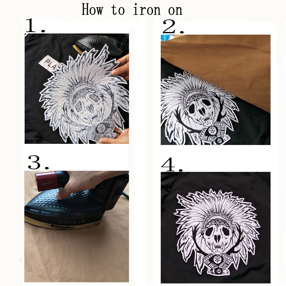 Iron On skull Patch Embroidered skeleton Applique Sewing Label punk biker Patches Clothes Stickers Apparel Accessories Badge