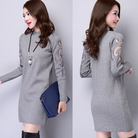 2017 New Arrival Women Autumn Winter Sweater Dress Knitting Gauze Sheath Plus Size M 3XL Casual