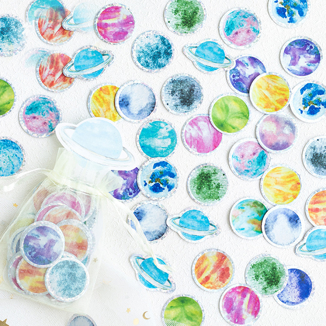 100 piezas pegatinas lindo pequeño universo láser de cristal Scrapbooking bala revista pegatinas papelería Etiqueta de hecho a mano diario