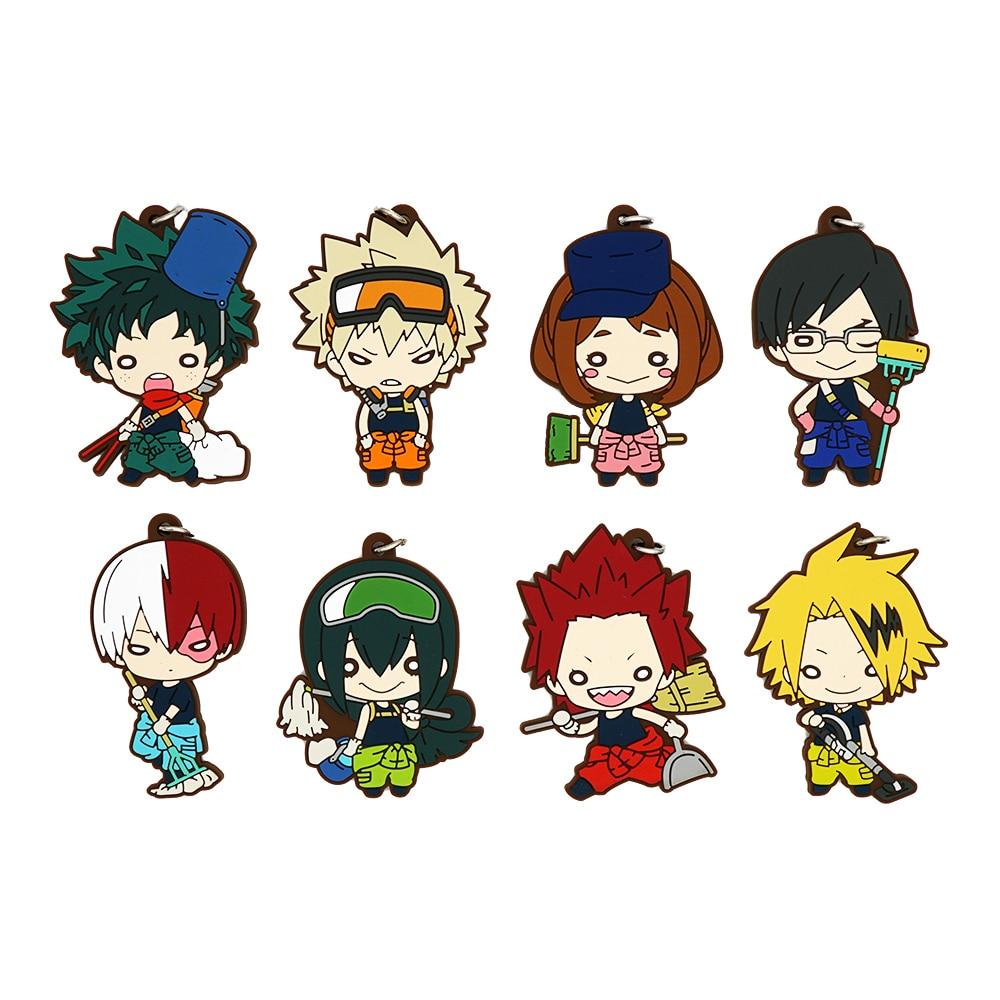 My Hero Academia Anime Boku No Hero Academia Cleaning Up Deku Bakugou Katsuki Eijiro Tsuyu Tomura Rubber Keychain