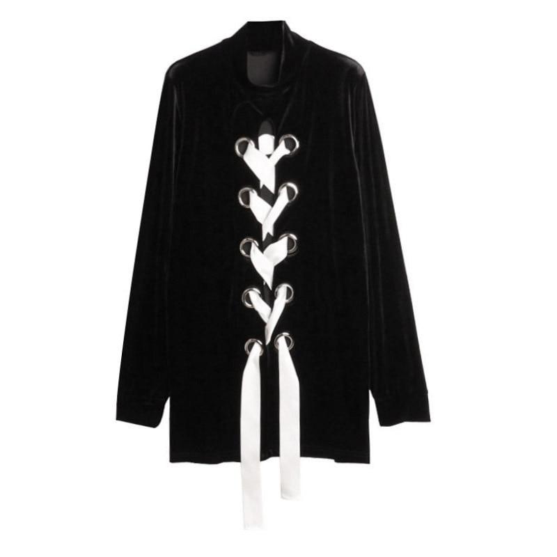 HIGH QUALITY New 2017 Fall Winter Designer Sweatshirt Womens Long Sleeve Ribbon Lacing Up Velvet Long Sweatshirt