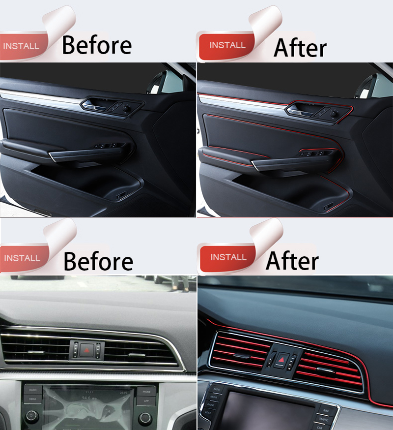 Silver Car Interior Moulding Trim Door Dashboard Air Vent Steering-wheel Flexible Decor Line Car Interior Moulding Strips