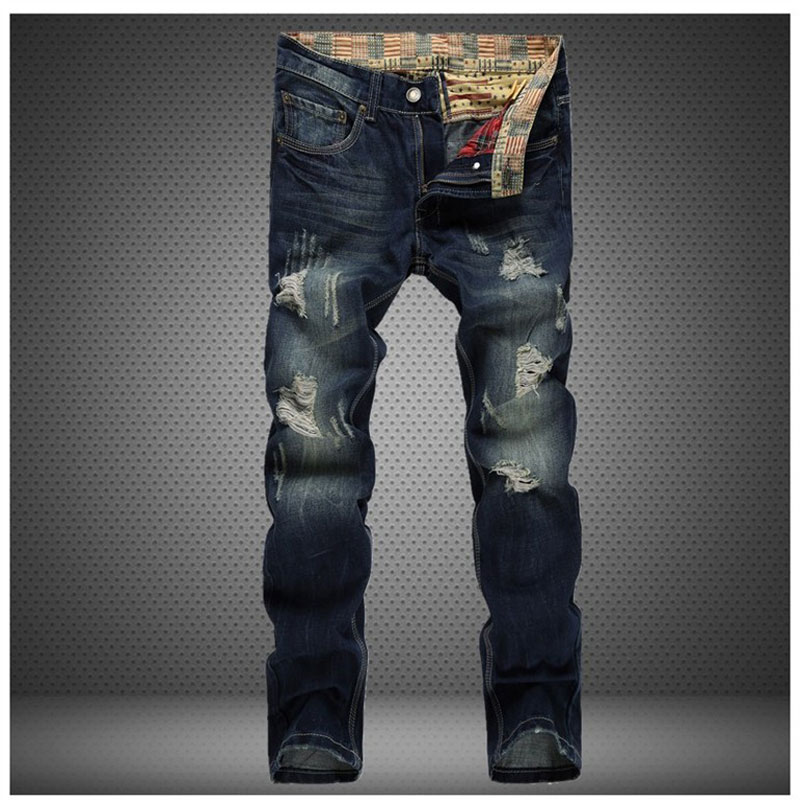 ФОТО Scratched Ripped Design Jeans 2017 Men Fashion Brand Slim Straight Jeans Men's Hole Jeans Pants Skinny Casual Trousers 30-38