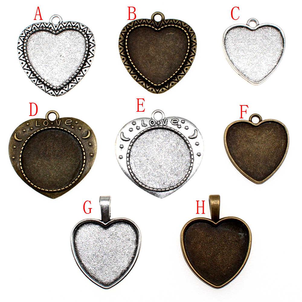 1 piece 25mm coeur verre Cabochon Base réglage pendentif Base pour bijoux bricolage faisant des fournitures de fabrication de bijoux