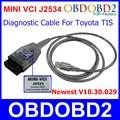 Mais novo V10.30.029 Mini VCI Para Carro TIS Techstream MINI-VCI OBD2 Interface de Comunicação Padrão de Cabo E Conector de Diagnóstico