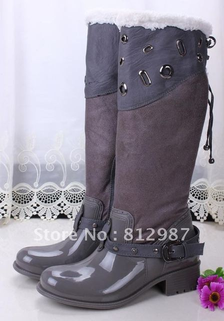 Free shipping wholesale 2012 fashion women's chic brand rain boots +snow boots design thick faux fur lining knee-high boots