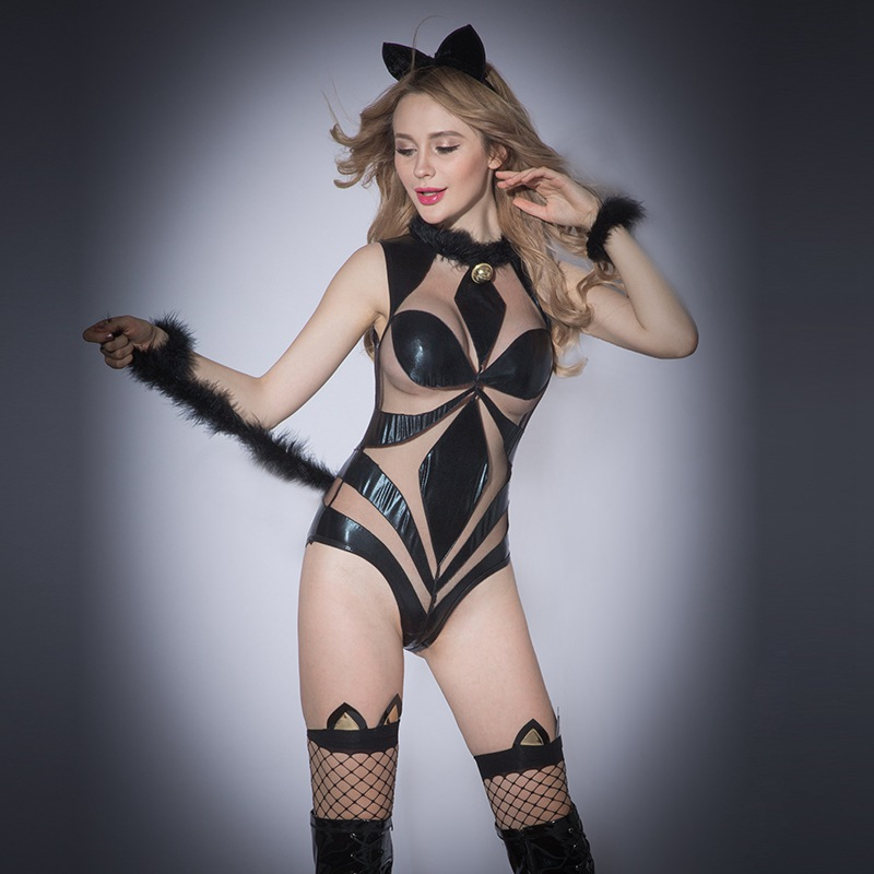 Sexy Black Faux Leather Lace Catsuit Women Erotic Hollow Out Catwomen Costume With Long Tail Animal Designer Uniform Outfit