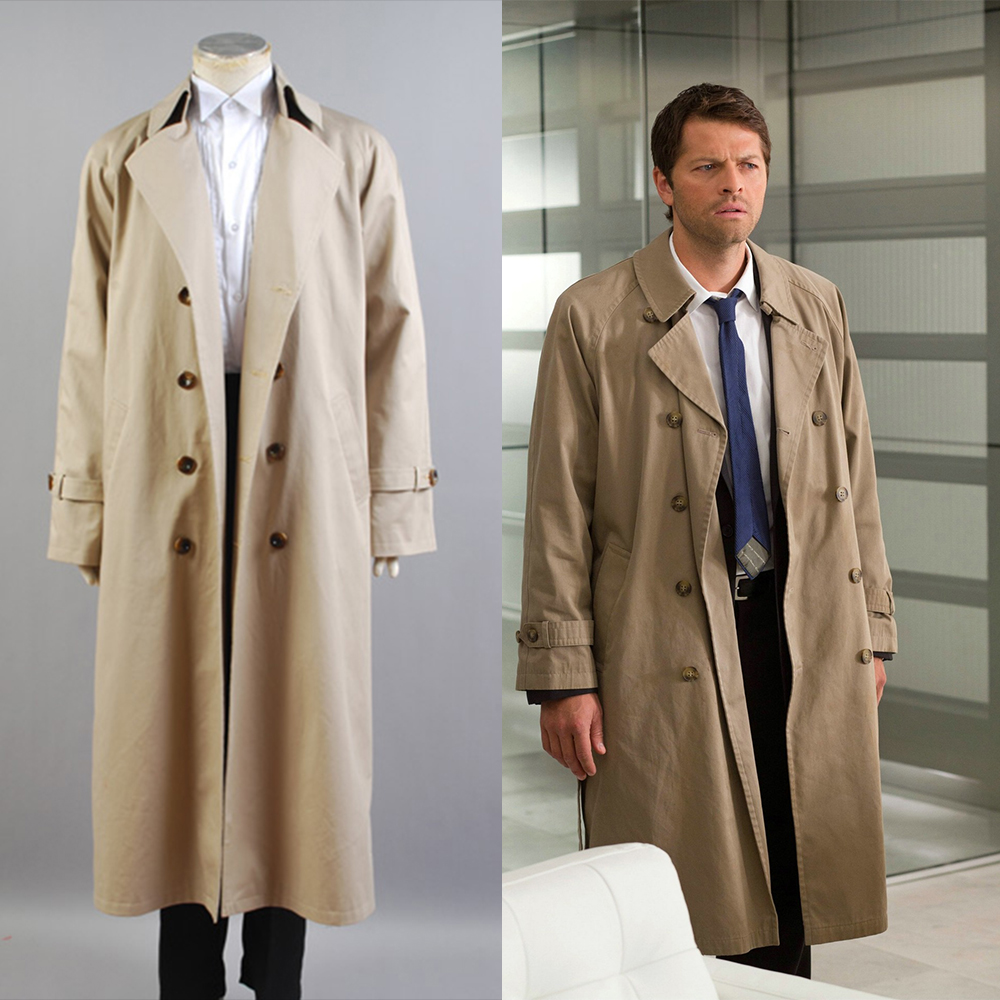Supernatural Castiel Twill Trench Coat Costume For Men Full Set