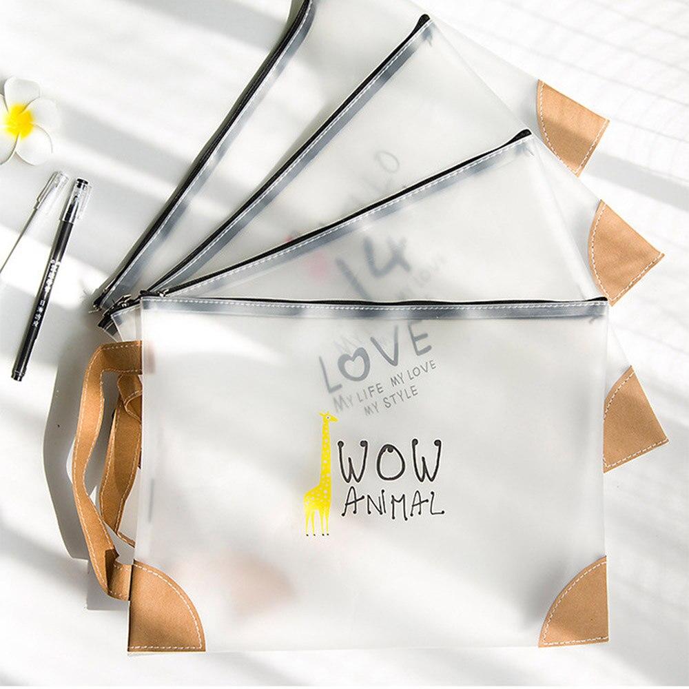 1Pcs Hot Sale Waterproof Plastic Zipper Paper File Folder Book Pencil Pen Case Bag Document Bag