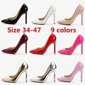 Más el tamaño 42 43 44 45 46 47 mujeres office lady carrera charol punta estrecha inferiores rojos únicos altos talones finos zapatos de las bombas F48