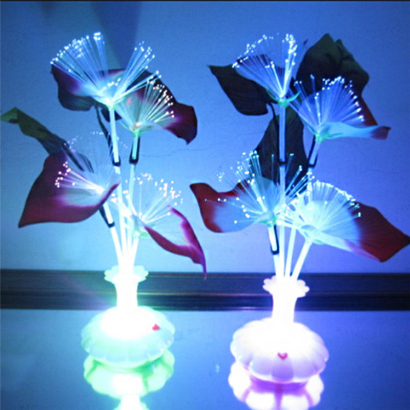 1pc Led Artificial Flower Light Optical Fiber Table Lamp Flower Calla Lily Vase Night Light Decoration For Home Party Decor