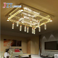 Z Modern Luxurious Rectangle Crystal Chandelier Round Atmosphere Bubble Column Ceiling Lamp For Livingroom Bedroom Lighting