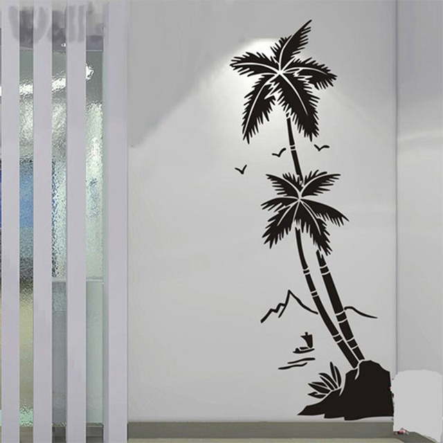 Beach coconut trees waterproof vinyl decal stickers hall bathroom glass modern art mural decorative stickers