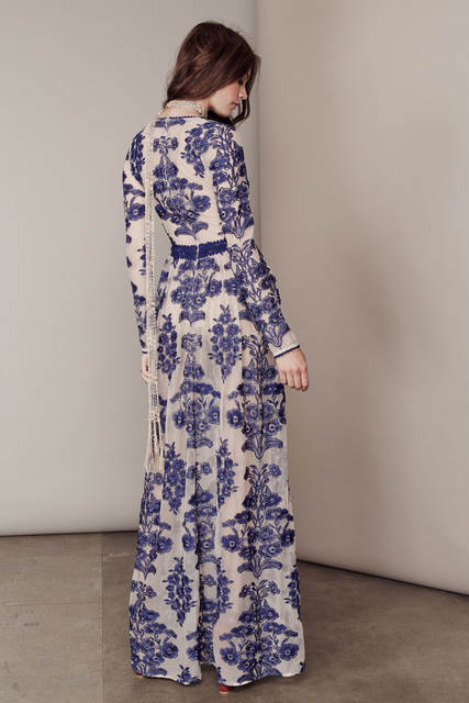 b8656a9c71c67 US $34.67 32% OFF|HAMALIEL 2018 Autumn Women Dress Runway Embroidery Long  Sleeve Blue And White Porcelain Sexy Deep V Neck Boho Beach Long Dress-in  ...