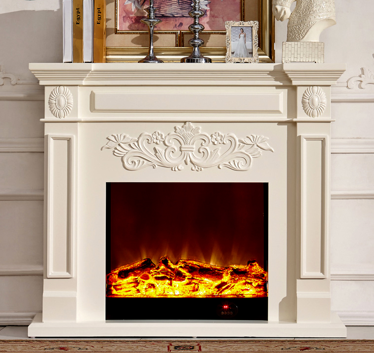 Wood fireplace mantel w130cm with electric fireplace insert warm air blower room heater - Decor de cheminee ...