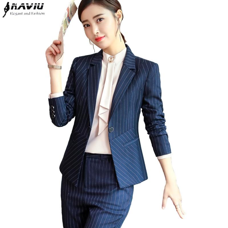 جديد الأزياء سراويل مخططة دعوى النساء مزاجه الأعمال مقابلة طويلة كم سترة و بانت مكتب السيدات زائد حجم العمل ارتداء-في بدلة بسروال من ملابس نسائية على  مجموعة 1