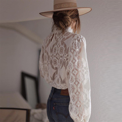 Sexy Perspective Women T-Shirt Summer White Hollow Loose Batwing Long Sleeve Tshirt Women Casual Lace Floral Fashion T Shirt Top 3
