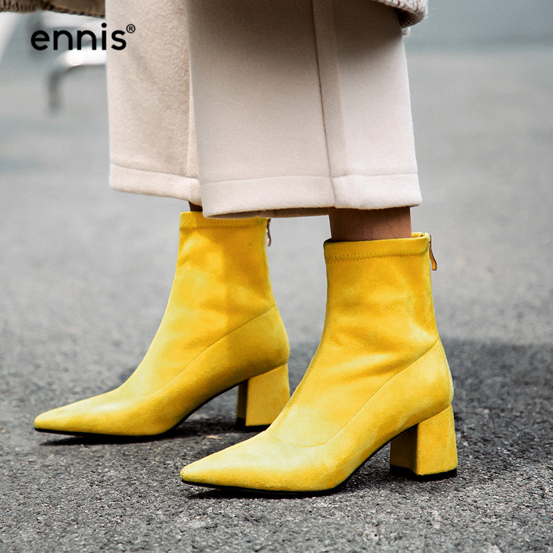 ENNIS 2019 NEW Flock Chunky High Heel Boots Pointed Toe Stretch Boots Women Winter Autumn Ankle