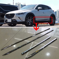 For Mazda CX 3 2017 2018 2019 ABS Chrome Door Side Body Molding Line Garnish Cover Trims Strip Protector 4Pcs Car Styling