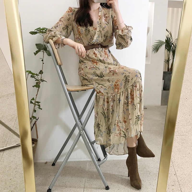 Kadın Elbise 2019 Bahar Yaz Kore Moda Bağbozumu Çiçek Baskı Şifon Midi Elbise Bayanlar Zarif Elbiseler Kemer Elbise