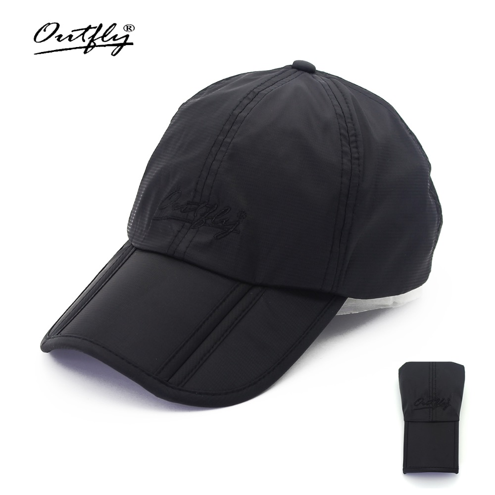 Outfly folding sun hat cap visera cap outdoor foldable quick dry visor cap brand fishing hat men sports duck cap