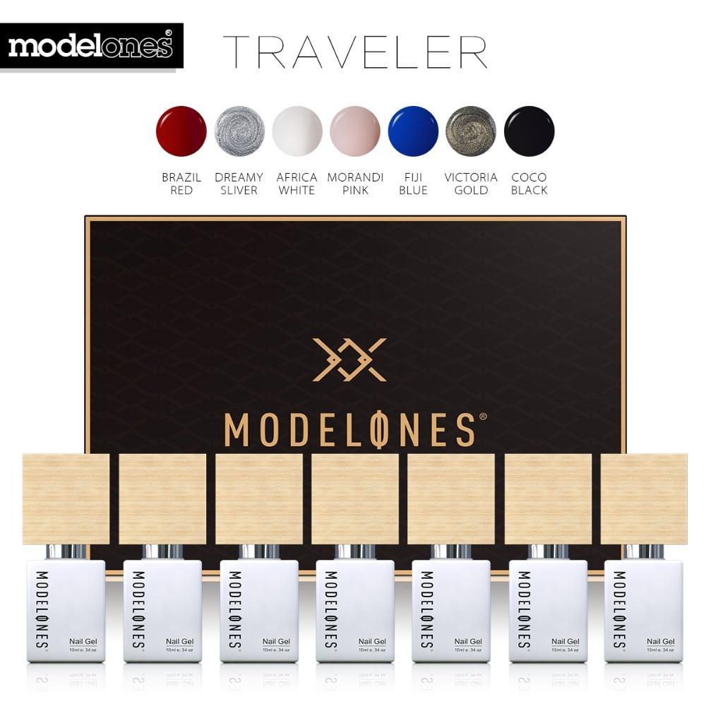Modelones 7 pz/lotto Serie Viaggiatore UV Del Gel del Chiodo Set FAI DA TE Nail Design Soak Off Gel UV Lacca Semi Permanente led Nail Polish