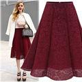 Hot Selling Lace Skirts 2016 Autumn New High Waist was Thin Lace Skirt Solid Color Wild Large swing A-line Skirt AXD1987