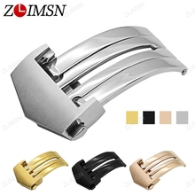 ZLIMSN 20mm Double Push Button Deployment Clasp Silver Gold Black Rose Gold Stainless Steel Watch Metal