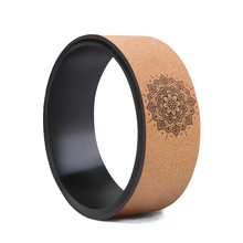 High End TPE Cork Yoga Wheel With Lotus Pattern Diameter 33cm Pilates Circle For Gym Workout Back Training Tool Bodybuilding