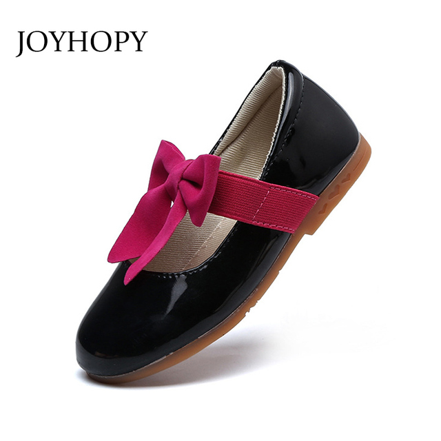 2018 New Style PU Leather Girl Flat Shoes Toddler Princess Shoes Bowknot  Brand Kids Children Shoes Size 26-36 f2919093f5c1