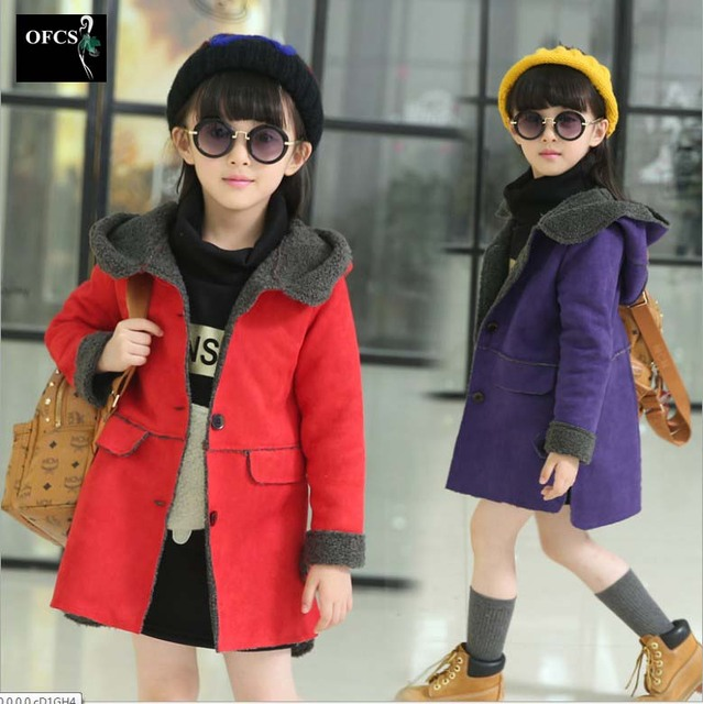Faux Suede Outwear Girls New 2016 Autumn And Winter Kids Thickening Hooded Overcoat Leisure Long Coat Fashon Parkas Jacket 5-15Y
