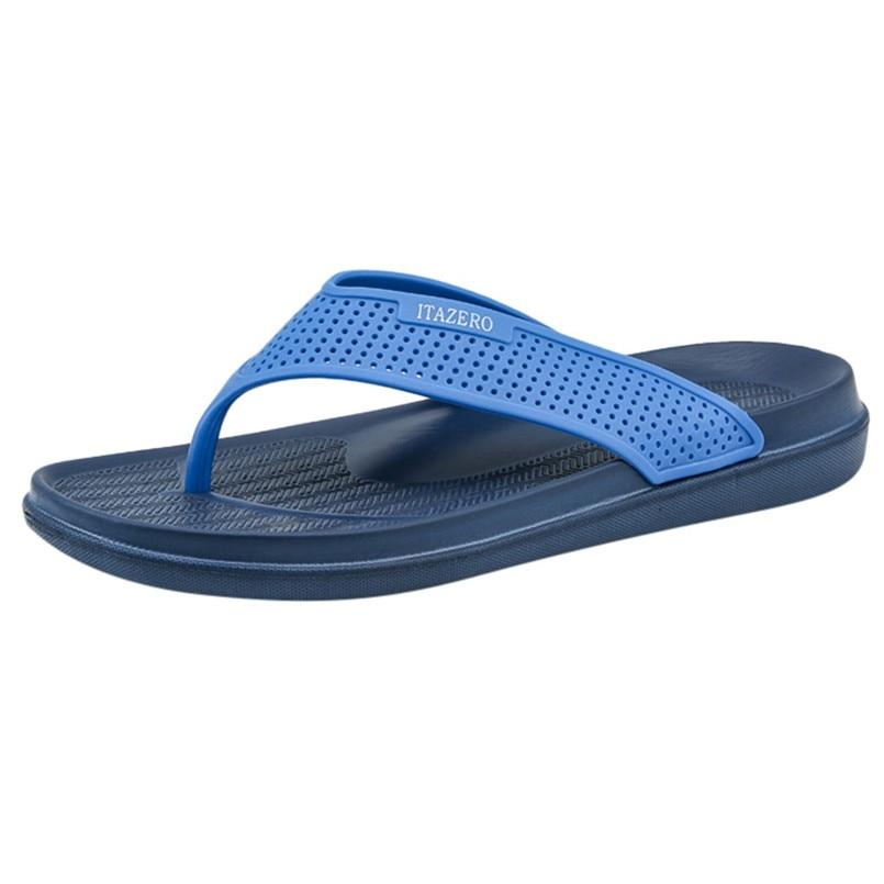 Г., новые мужские шлепанцы Летняя модная повседневная обувь однотонные пляжные сандалии дышащие Вьетнамки, обувь B1 - Цвет: Синий