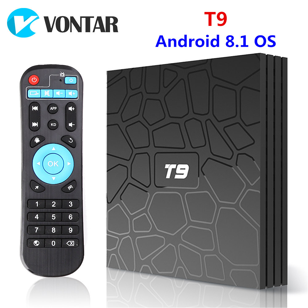 CAIXA de TV Android 8.1 VONTAR T9 4 GB GB RK3328 64 Quad Core USB3.0 H.265 5 HEVC 1080 p Wi-fi GHz BT4.0 Youtube Set Top Box media player