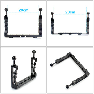 Image 5 - CNC Scuba Diving Underwater Light Arm System Triple Clamp Tray Bracket Handle Grip Stabilizer Rig for Video Gopro DSLR Cam Torch