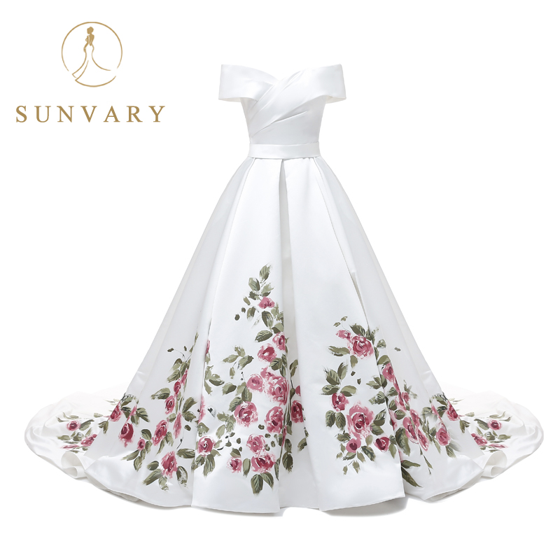 Sunvary Custom Hand Drawing White Long Prom Dress Cap Sleeve Plus ...