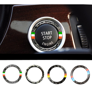 32.5MM Car Styling Start Stop Engine Button Decorative Ring Sticker Carbon Fiber Emblem for BMW E90 E92 E93 (2005-2012) image