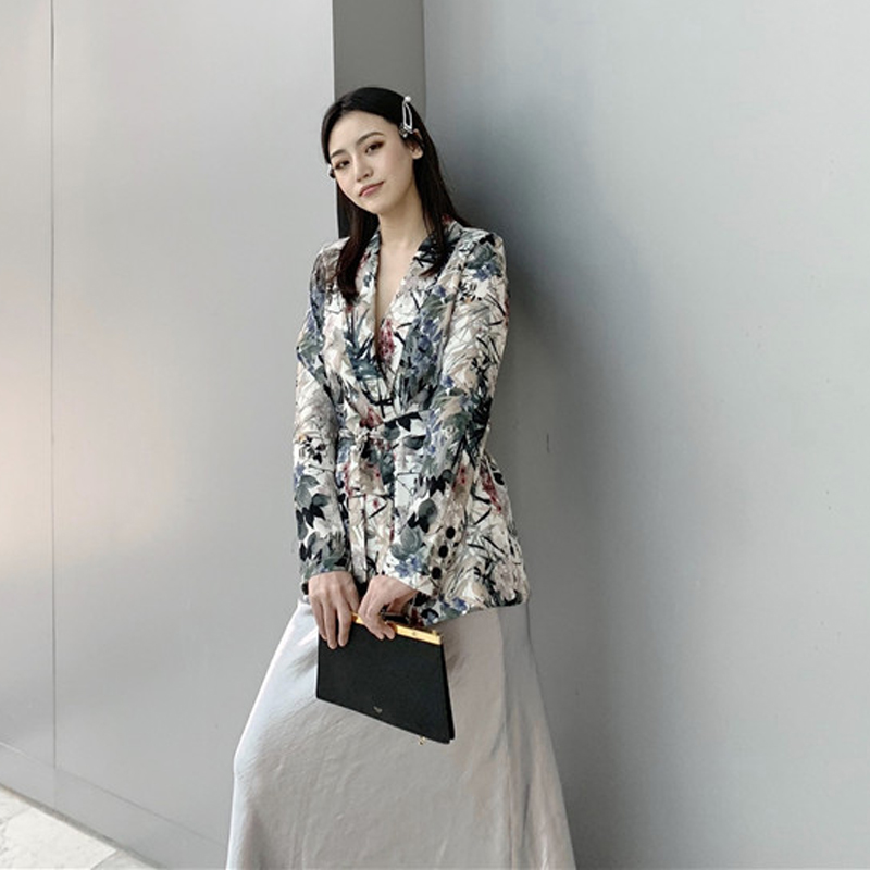 Suit Female 2019 Summer New Fashion Women's Casual Print Slim Long-sleeved Small Suit Jacket Slim Trousers Two-piece Pants Suit