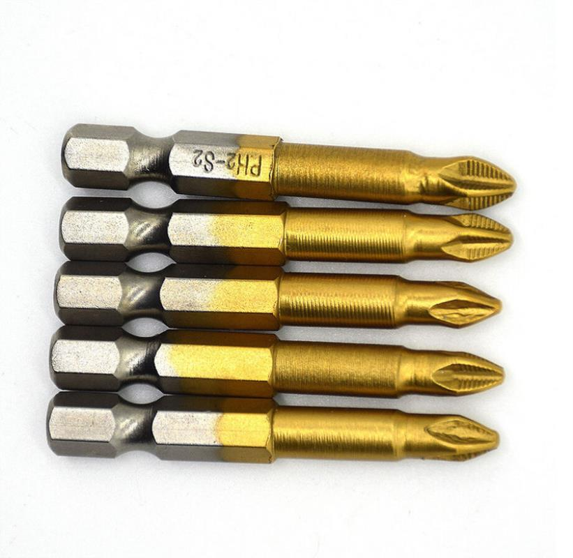 5pcs 50mm Length Titanium Coated PH2 Anti Slip Bits Electric Screwdriver Bits 1/4